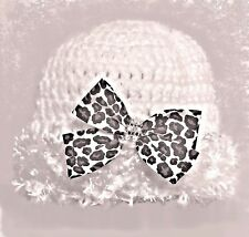 HAND CROCHETED WHITE BABY GIRLS HAT knit shower gift vintage leopard print bow