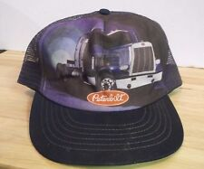Vintage 1980 Peterbilt Trucks SnapBack Trucker Mesh Hat Cap Graphic Art Blue
