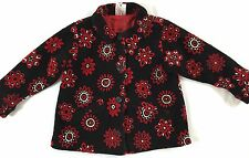 Hanna Andersson Size 100 Black Red Floral Fleece Collared Holiday Jacket Coat