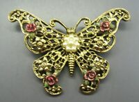 1928 BRAND Vintage LARGE BUTTERFLY BROOCH PIN Pink Roses FAUX PEARLS Gold Tone