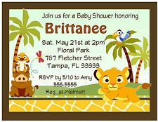 20 LION KING BABY SIMBA BABY SHOWER INVITATIONS w/envelopes