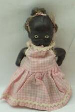 VINTAGE BLACK AMERICANA BISQUE DOLL JAPAN 4in 3 PONYTAILS PINK GINGHAM DRESS