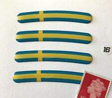 """4 x Sweden Flag Rim Stickers To Fit 16"""" Wheel Super Shiny Domed Finish"""