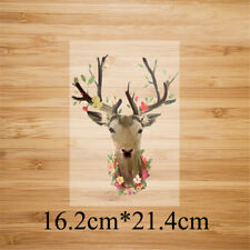 deer head iron on patches heat transfer pyrography for diy clothing decor Oq