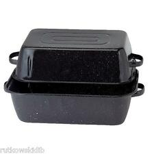Granite Ware 21-Inch Black Rectangular Roaster With Cover Ceramic On Steel