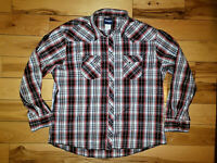 Mens Wrangler Snap Button Up Shirt Western Plaid Long Sleeve Size 3XL