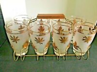 Set of 8 Vtg Libbey Golden Foliage Gold Leaf Glasses with Carrier
