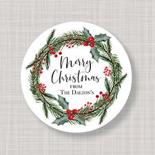 Custom Personalized Round Christmas Holiday Holly Wreath Labels Stickers