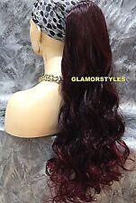 Long  Black Burgundy Ponytail Hair Piece Extension Drawstring Heat Ok  #T1B.BURG