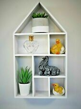 NEW White wooden House Shaped Wall Shelf Home Display Unit Wall Mounted Shelving