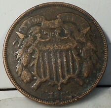 1868 Two Cents grading Very Good Details Environmental Damage