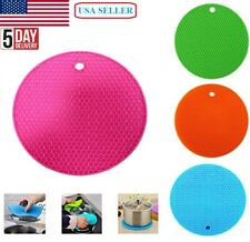 2Pcs Silicone Heat Resistant Mat Round Gripper Thick Hot Pads for Kitchen