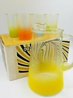 NOS Vtg Mid Century Bartlett Collins Frosted Ombre' Juice 6 Glass Set w/Pitcher