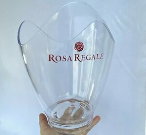 Rosa Regale Banfi Wine Champagne Ice Bucket Round Clear Acrylic Holds 2 Bottles