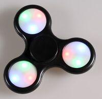 Hand Finger Fidget Tri Spinner Schwarz LED Anti Stress ADHS EDC Toy Spielzeug