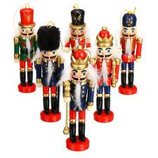 6X Marioneta Cascanueces Adornos De Navidad Decoración De Madera Muñeca Soldado