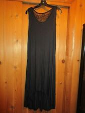 WOMEN'S BLACK DOUBLE LONG LENGTH LACE BACK NIGHTGOWN   SIZE SMALL
