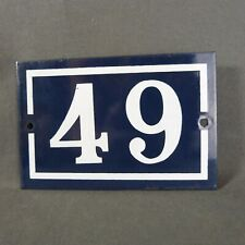 French Vintage Blue Enamel Metal Street Number n°49 Door House Plaque