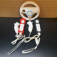 Genuine OEM Nintendo Wii 2 Remote Controller & 2 Nunchuck Bundle - TESTED+Wheel
