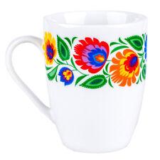 Mug - Folk Pattern  / Kubek FOLK ludowy wianek - łowicki biały