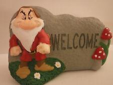 "New! Rare Disney Grumpy Seven Dwarfs ""Welcome"" Garden Stone New with Tags"
