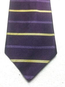 BROOKS BROTHERS MENS TIE PURPLE WITH LILAC PURPLE AND GOLD STRIPES 3.75 X 57