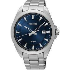 SEIKO MEN'S 42MM STEEL BRACELET & CASE QUARTZ BLUE DIAL ANALOG WATCH SUR207