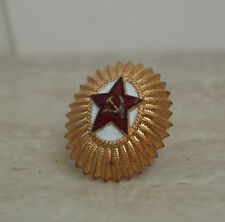 Brass enamel USSR Soviet Army Military Badge Hat Pin Red Star Cockade