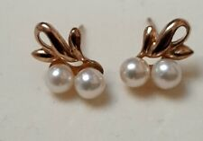 Antique Hallmarked 9ct Gold Cultured Pearl Stud Earrings