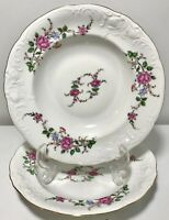 "2PCS Vintage Royal Kent Collection Poland Bavarian Rose China Soup Bowls 8.25"""