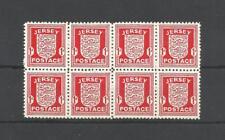 Jersey  YT N° 2a (papier couché ) ** MNH iles anglo normandes bloc de 8 timbres