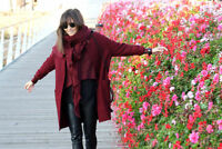 STUNNING NEW ZARA BURGUNDY COCOON BUTTONED WOOL BLEND COAT SIZE S