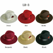 Men's 100% Wool Hat Fedora Trilby Style Hat Burgundy Black, Red by Fortino