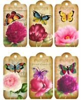 vintage style 9.5cm x 5cm 12  LARGE Handmade tags toppers PRETTY FLOWERS