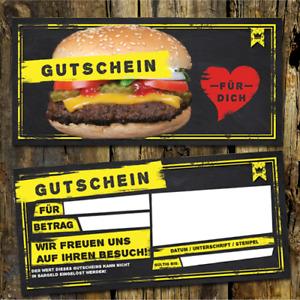 100 Burger Gutscheinkarten, Fast Food Gutschein, Burger Gutschein, Restaurante