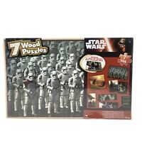 "Disney Star Wars ""The Force Awakens""  7 Wood Puzzle Set with Wooden Storage Box"