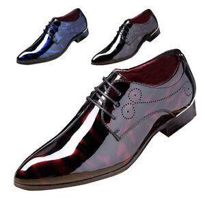 Men Fashion Dress Business Shoe Pointed Toe Floral Patent Leather Lace Up Oxford