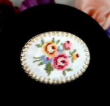 TINY NEEDLEPOINT ROSES PIN Vintage BROOCH Yellow Pink Flowers Oval Goldtone ART