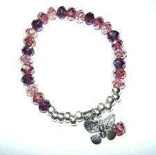 SPARKLY FACETTED PINK & PURPLES ABACUS BEAD STRETCH BRACELET WITH DANGLES