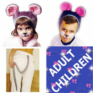 Animal Mouse Fancy Dress 2ps Set Hat Tail Children Adult Carnival Costume Party