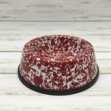 Cgs Red Marble Enamelware Cat Food Water Bowl Enamel Rubber