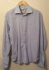 yves saint laurent Shirt Large Blue Check Long Sleeve Double Cuff Used