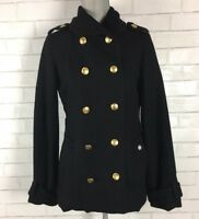 OBEY Womens Double Breasted Peacoat Wool Blend Lined Black Heavy Thick Size M