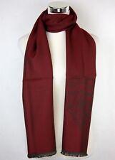 New Gucci Men's Hysteria Crest Dark Burgundy/Red Wool Long Scarf 344993 6464
