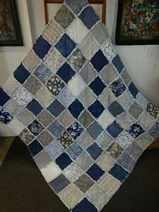 Navy & Gray XL Rag Quilt Throw Navy/Deep Blue & Shades of Gray Cotton HM NEW