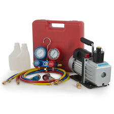 1/2HP 5CFM Rotary Vane Vacuum Pump R134A Refrigerant Recharge AC Manifold Gauge