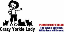 Crazy Yorkie Lady Decal Sticker Funny Animal Vinyl Car Window Bumper Laptop 6""