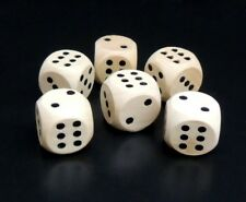 New Set of 6 Natural Wood 16mm Dice with Clear Stain – D6 Dice Board Game