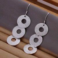 ASAMO Damen Ohrhänger kleine Ringe Ohrringe 925 Sterling Silber plattiert O1140