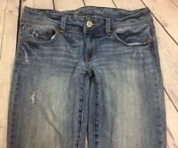 American Eagle Women Blue Jeans Slim Bootcut Stretch Distressed Size 8 S / Denim